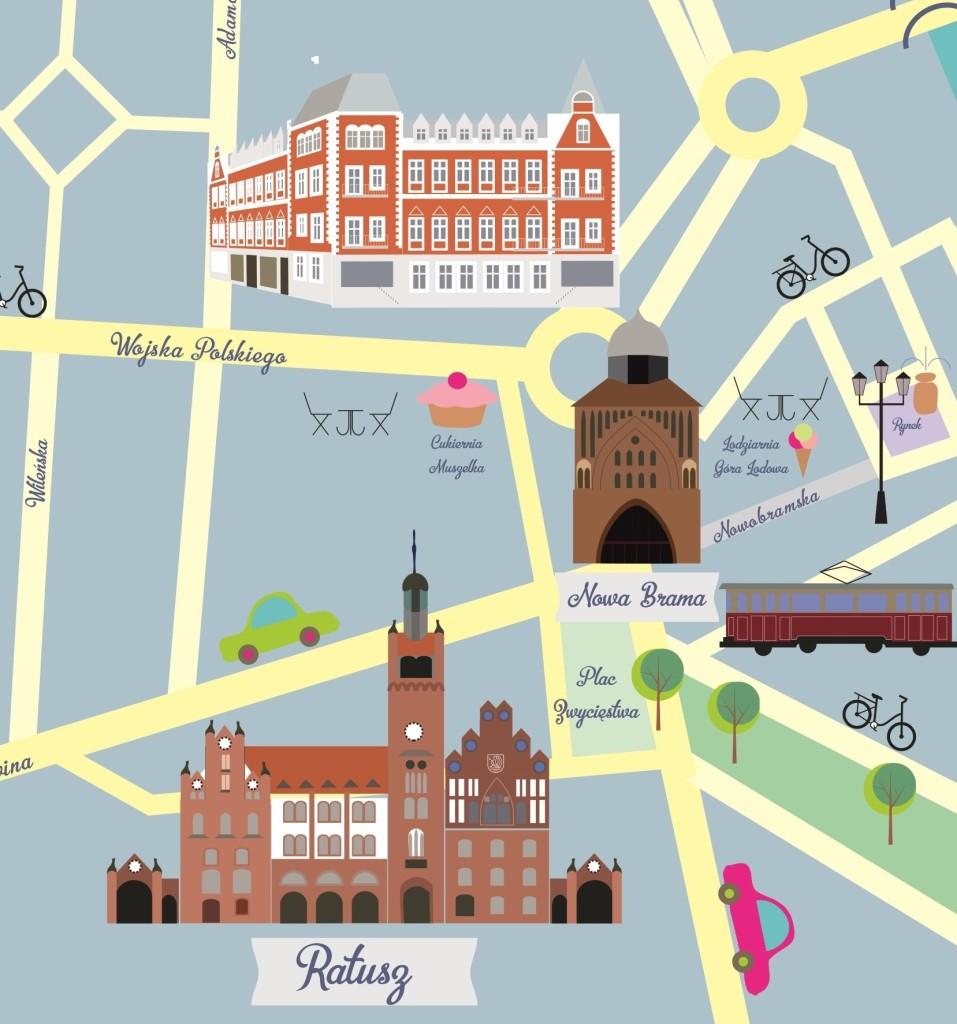 słupsk illustrated map