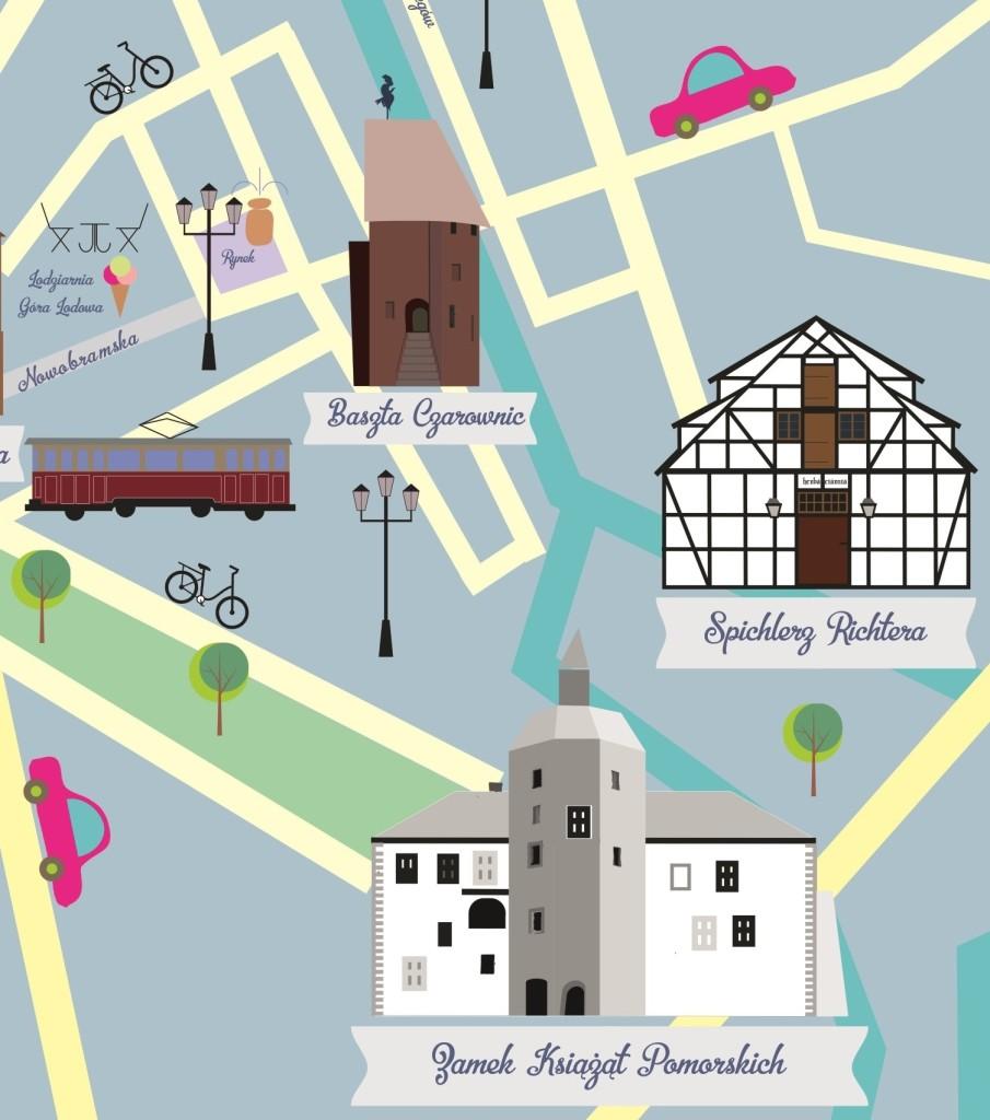 słupsk ilustrowana mapa