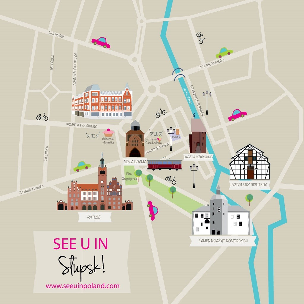 Słupsk illustrated map
