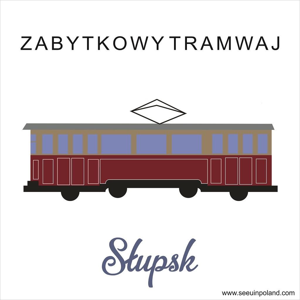 słupsk ilustrowana mapa tramwaj